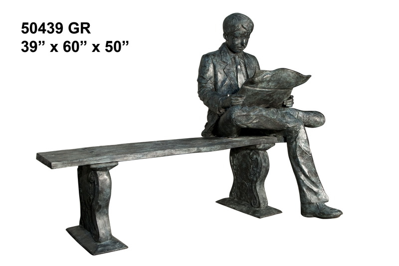Bronze Man Bench Reading on Bench Statue - AF 50439GR