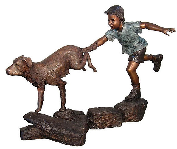 Bronze Boy & Dog Running Statue - AF 50454