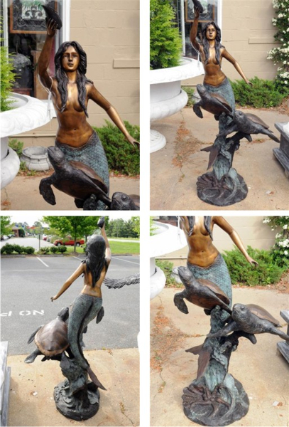 Bronze Mermaid Fountain Statue - AF 50518