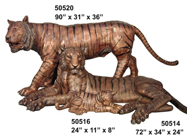 Bronze  Bengal Tiger Family Statues