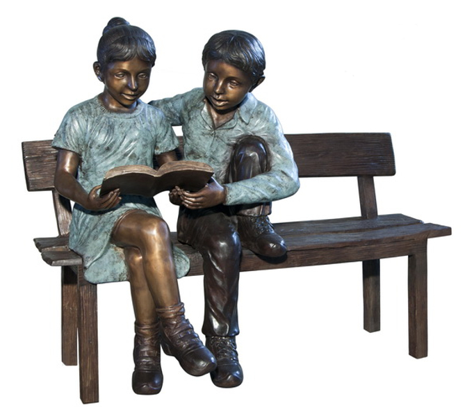 Bronze Children Bench Reading - AF 50643