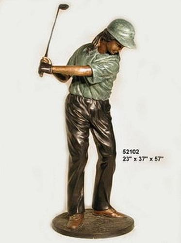 Bronze Golfer Girl Statue - AF 52102