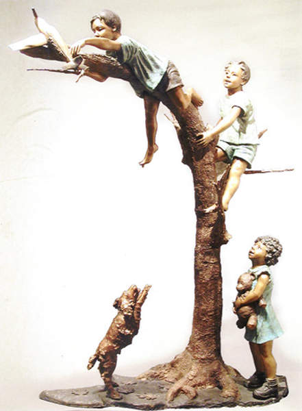 Bronze Children Retrieving Plane in Tree Statue - AF 52215