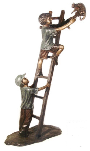 Bronze Boy Rescues Cat on Ladder - AF 52360
