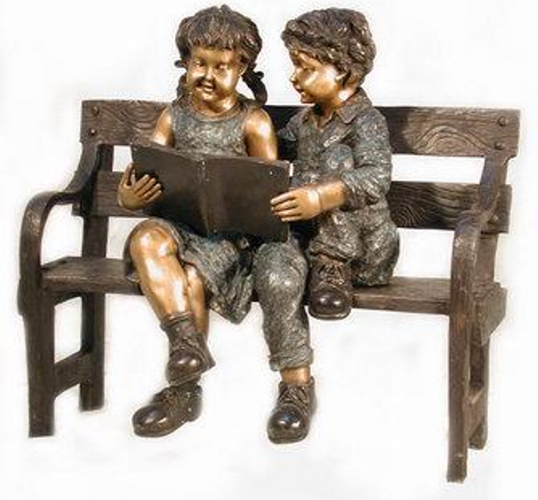 Bronze Children Bench Reading - AF 52400