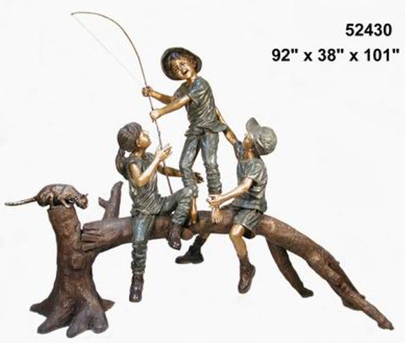 Kids Fishing From Tree Bronze Statue - AF 52430-S