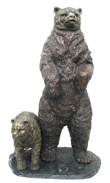 Bronze Grizzly Bear & Cub Statues - AF 52445