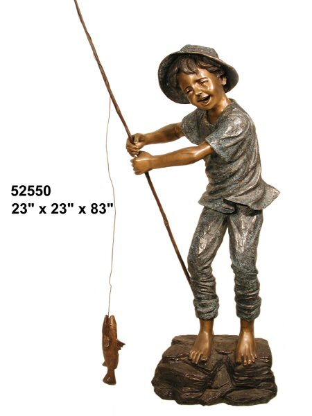 Bronze Boy Fishing Statue - AF 52550