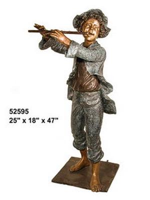 Bronze Boy Playing Flute Statue - AF 52595