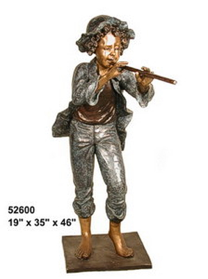 Bronze Boy Playing Flute Statues