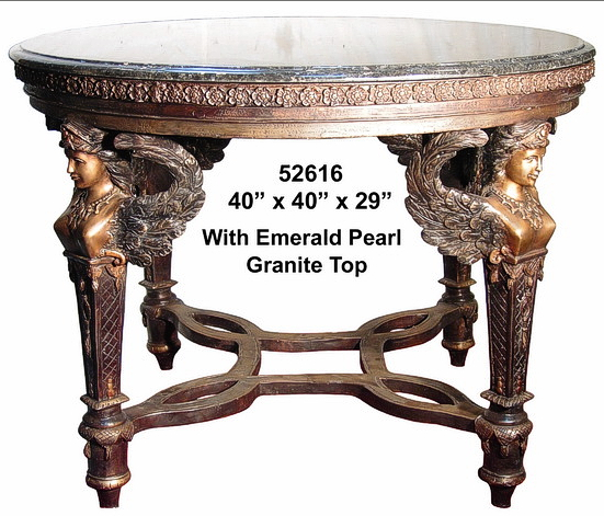 Bronze Sphinx Table Granite Top - AF 52616