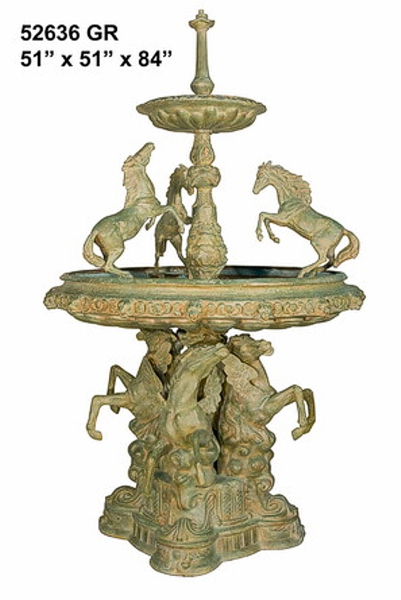 Bronze Horse Tiered Fountain - AF 52636 GR