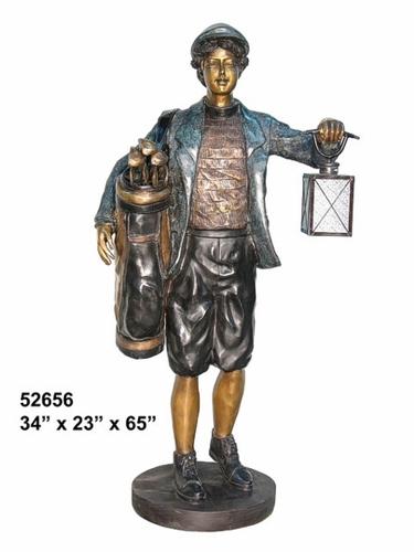 Bronze Caddie Lantern Statue - AF 52656