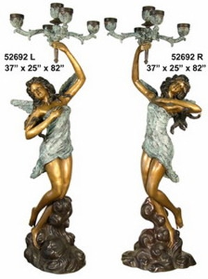Bronze Ladies Torchiere Lamps - AF 52692