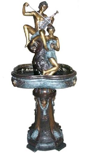 Bronze Man & Woman Violin Fountain
