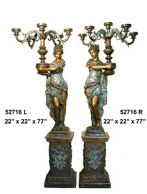 Bronze Ladies Torchiere Lamps - AF 52716
