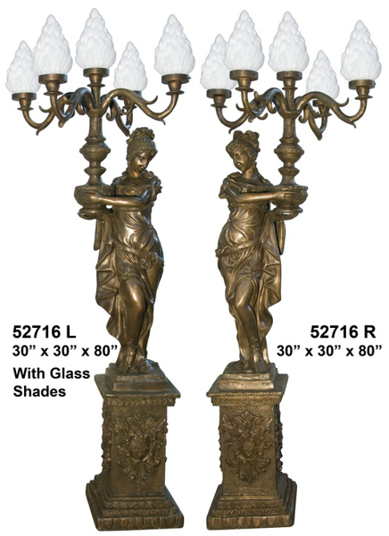 Bronze Ladies Torchiere Lamps - AF 52716LB