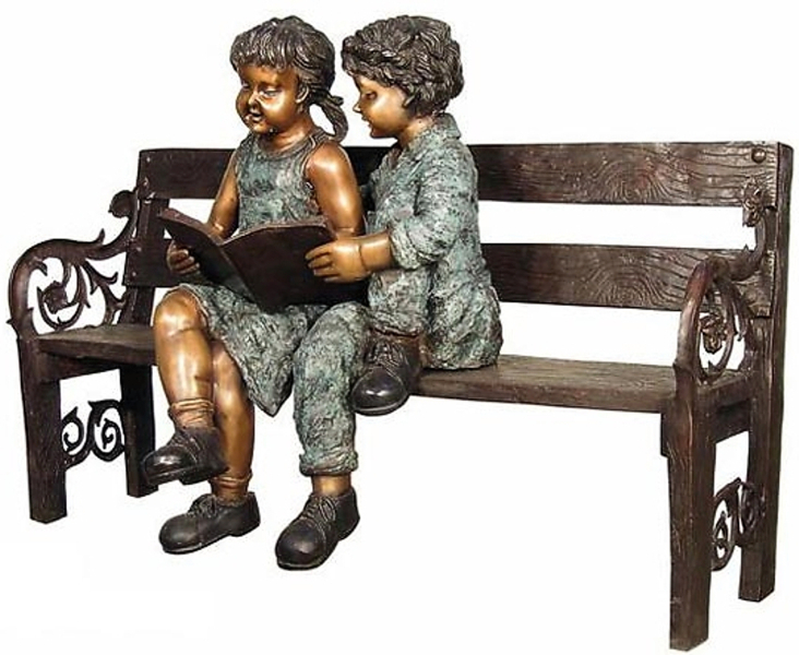Bronze Children Bench Reading - AF 52724-NP