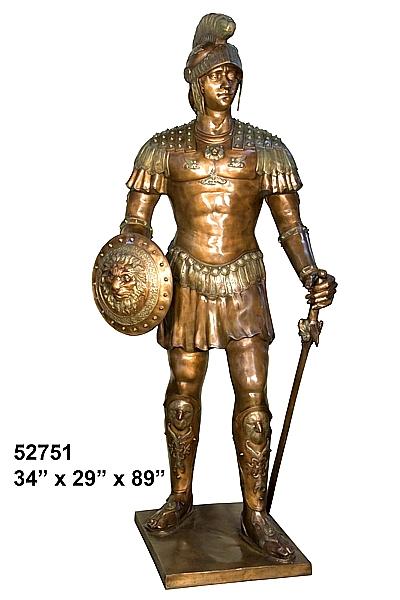 Spartan Warrior Bronze Statue - AF 52751