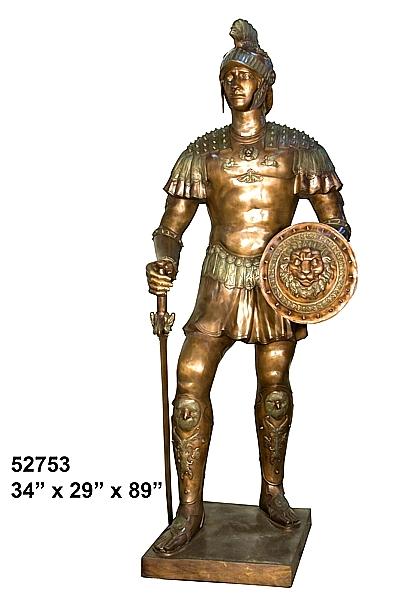 Spartan Warrior Bronze Statue - AF 52753