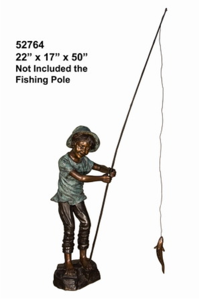 Bronze Boy Fishing Statue - AF 52764