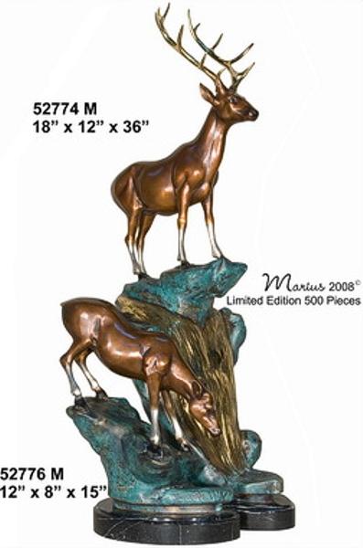 Table Top Bronze Buck & Doe Statue - AF 52774