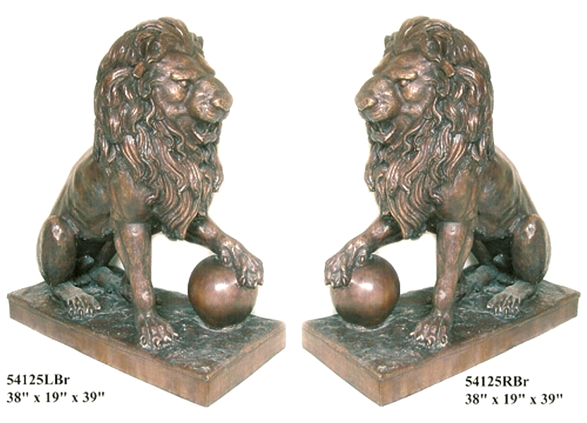 Sitting Bronze Lion Statue for Sale - AF 54125