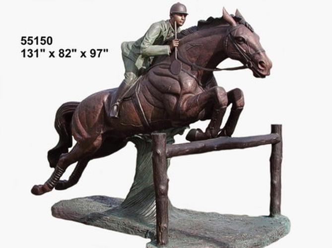 Bronze Jumping Steeplechase Horse Statues - AF 55150