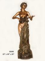Bronze Lady Mandolin Statue - AF 55195