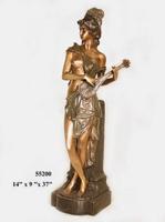 Bronze Lady Mandolin Statue - AF 55200