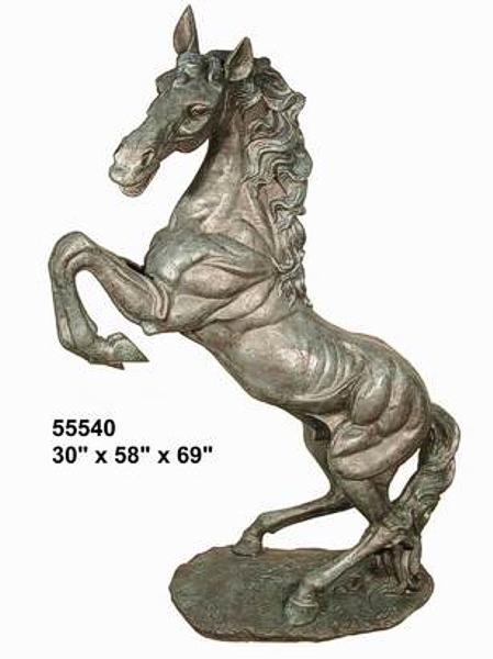 Rearing Bronze Horse Statue - AF 55540