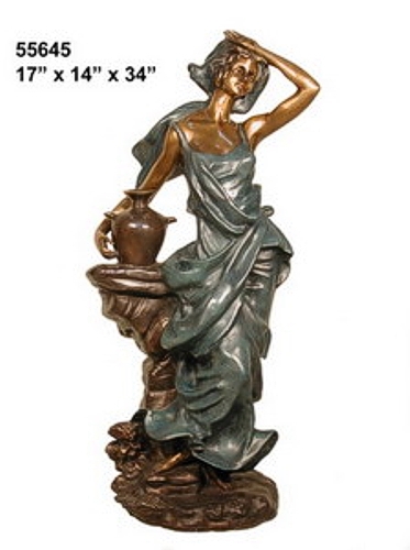 Bronze Lady Urn Statue or Fountain - AF 55645