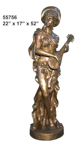 Bronze Lady Mandolin Statue - AF 55756