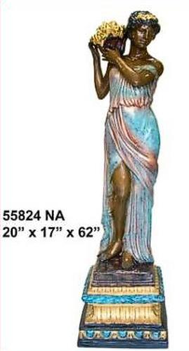 Bronze Lady Flower Basket Statue