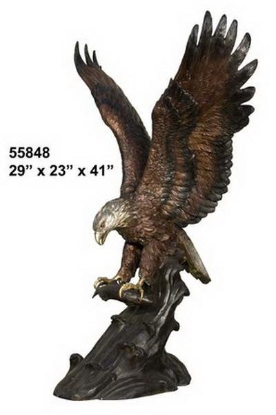 Bronze Eagle Catches Fish Statue - AF 55848TS