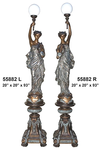 Bronze Ladies Torchiere Lamps