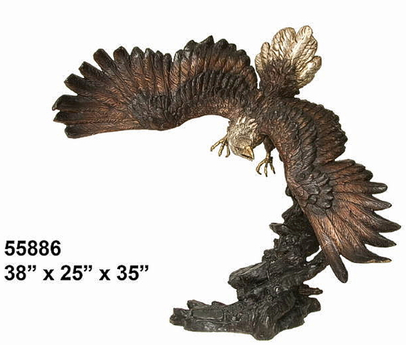 Bronze Eagle in Flight Statue - AF 55886