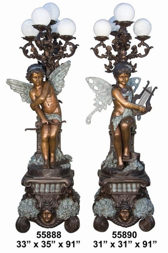 Bronze Angel Torchiere Lamps