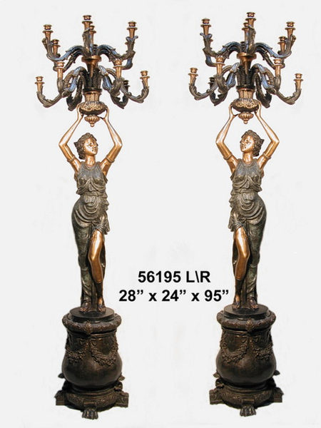 Bronze Ladies Torchiere Lamps - AF 56195NA