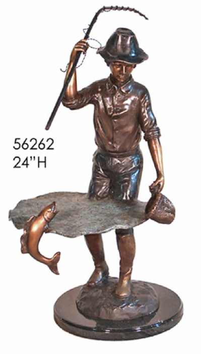 Bronze Boy Fly Fishing Statue - AF 56262