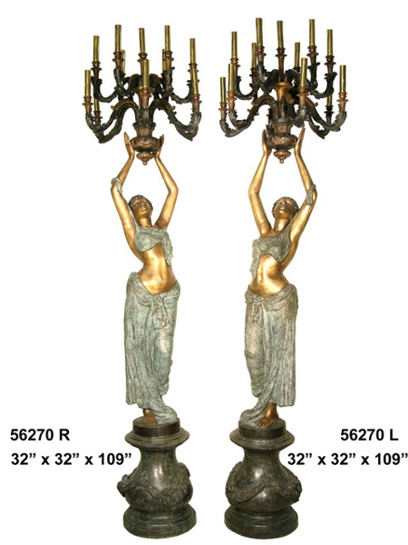 Bronze Ladies Candelabra or Torchiere Lighting - AF 56270