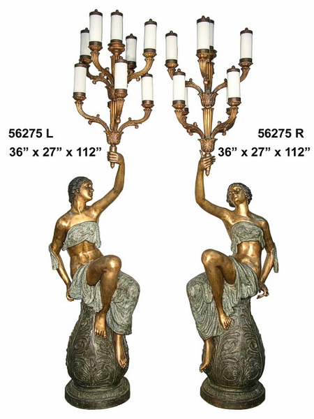 Bronze Ladies Torchiere Lamps - AF 56275