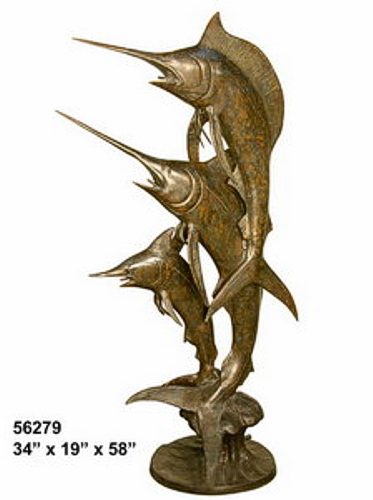 Three Jumping Bronze Marlins Fountain - AF 56279-F