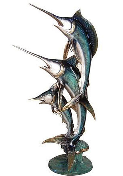 Three Jumping Bronze Marlins Fountain - AF 56279NA-F