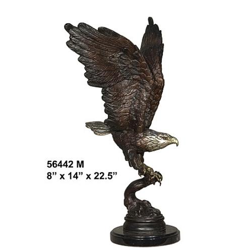 Bronze Eagle Landing on Branch Statue - AF 56442M