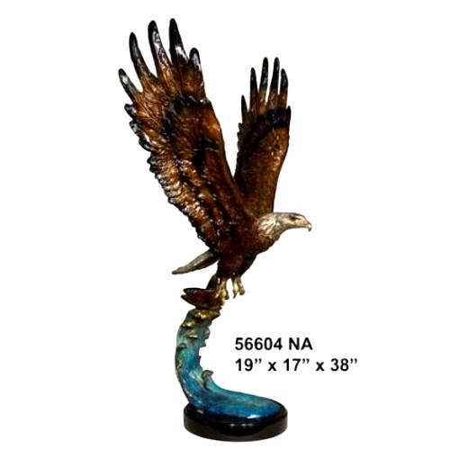 Bronze Eagle Marble Base Statue - AF 56604NA