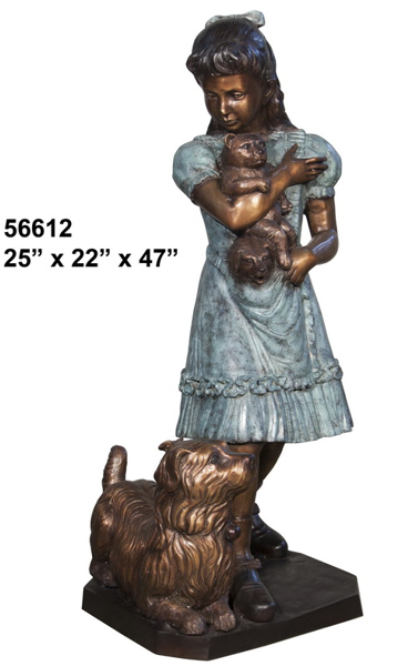 Bronze Girl, Dog Teddy Bear Statue - AF 56612