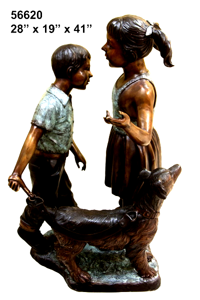 Bronze Girl, Boy & Dog Statue - AF 56620