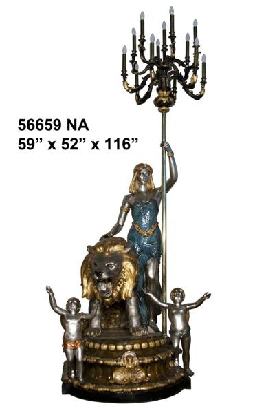 Bronze Ladies Torchiere Lighting - AF 56659NA