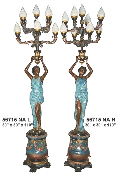 Bronze Ladies Torchiere Lamps - AF 56715